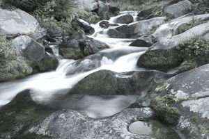 Water flowing down a brook in a blur