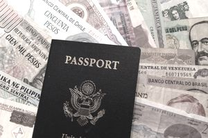 United States passport against a backdrop of foreign currency