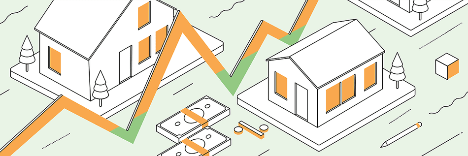 white, green, and orange illustration of houses, dollar bills, and a line graph