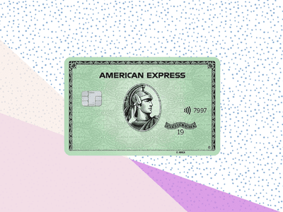American Express Green Card on polkadot background