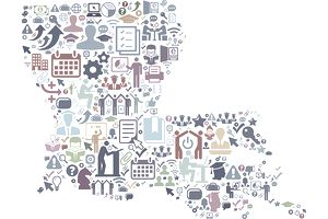 Louisiana E-Learning College Education Icons Background Pattern