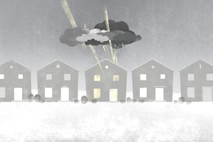 Illustration of a row of identical houses with one home covered in a dark rain cloud and being struck by lightning bolts.