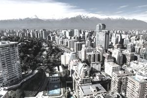 Aerial view of financial district at Santiago de Chile