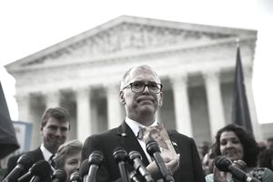 WASHINGTON, DC - JUNE 26: Plaintiff Jim Obergefell holds a photo of his late husband John Arthur as he speaks to members of the media after the U.S. Supreme Court handed down a ruling regarding same-sex marriage June 26, 2015 outside the Supreme Court in Washington, DC. The high court ruled that same-sex couples have the right to marry in all 50 states. (Photo by Alex Wong/Getty Images)