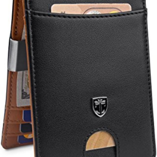 Non-Branded Mens Brown Leather Slimfold Wallet w// 4 Credit Card Slots
