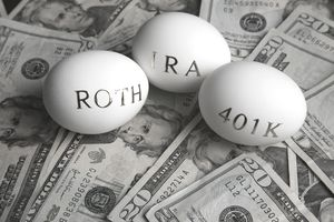 three eggs holding the words Roth, IRA, and 401K laying on a nest of $20 bills