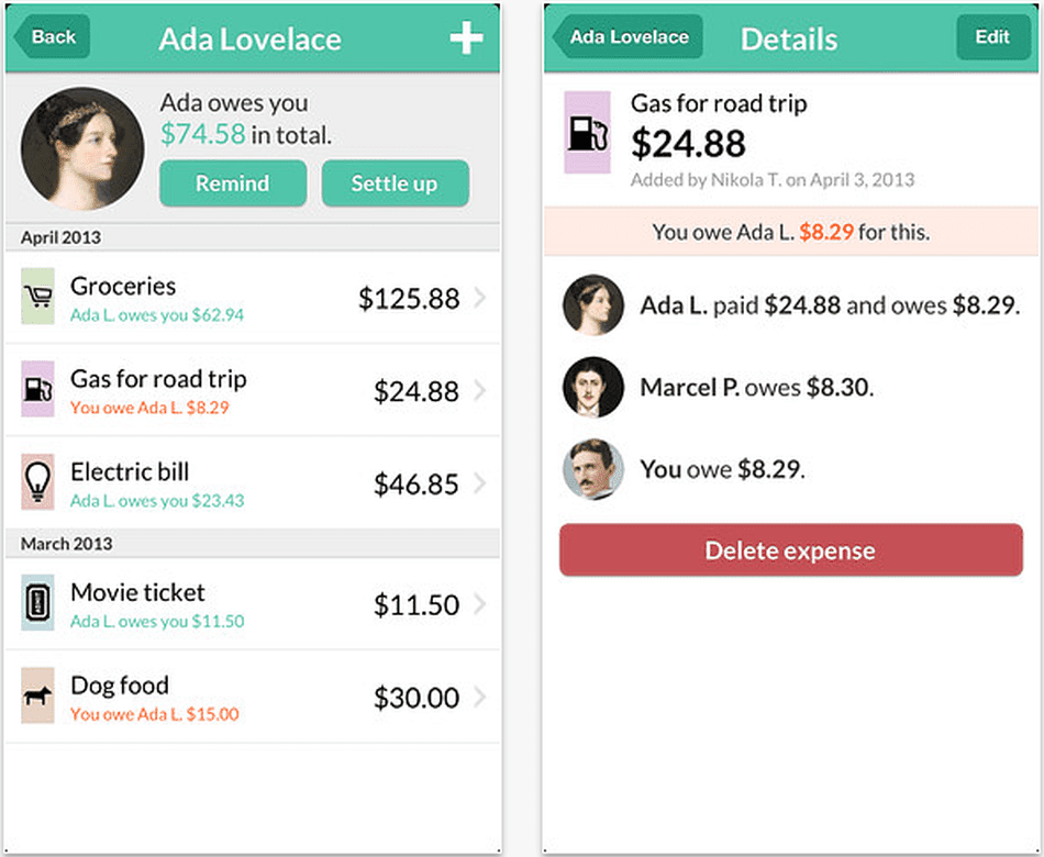 Share expenses with Splitwise iOS app.