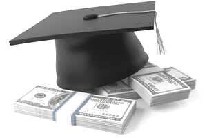 college mortarboard sits on top of bound stacks of $100 bills