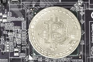 Bitcoin Against a Circuitboard