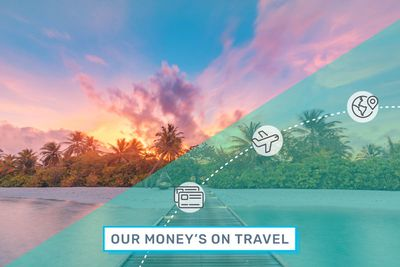 A photograph depicts sunset on a tropical beach under an illustrated overlay of the Our Money's on Travel logo.