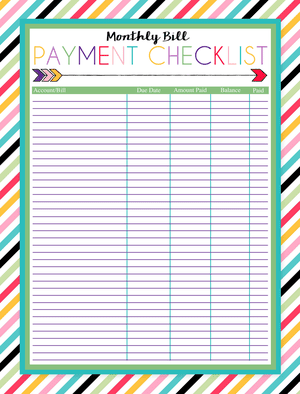Clever image intended for free printable bill tracker