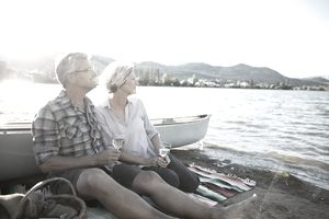 Retired couple at a lake