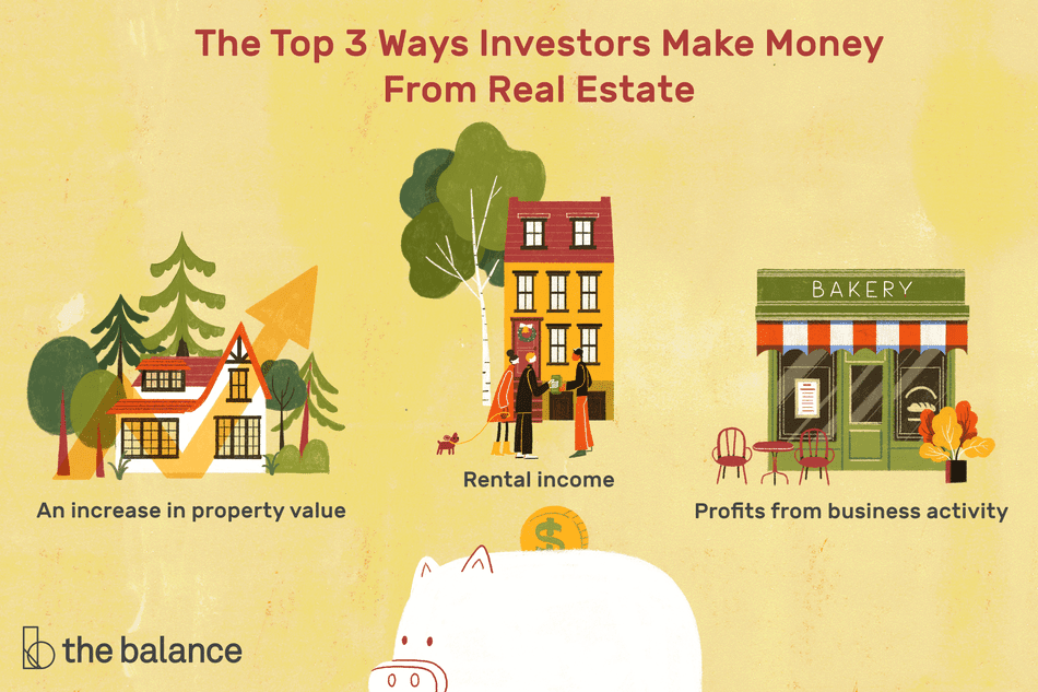 The Top 3 Ways Investors Make Money From Real Estate: An increase in property value, Rental income, Profits from business activity