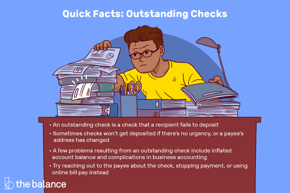 Quick Facts: Outstanding Checks: An outstanding check is a check that a recipient fails to deposit Sometimes checks won't get deposited if there's no urgency, or a payee's address has changed A few problems resulting from an outstanding check include inflated account balance and complications in business accounting Try reaching out to the payee about the check, stopping payment, or using online bill pay instead