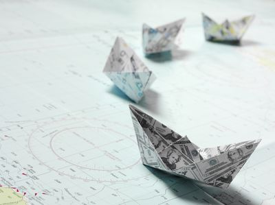 Origami paper hats with map