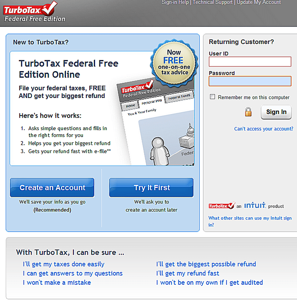 TurboTax Free Edition for doing taxes online.