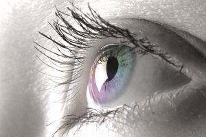 Colorful female eye macro photography Eyesight Contact lens Vision Biometrics concept