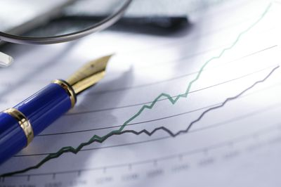 line graph with pen; investing