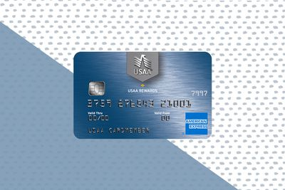 The face of the USAA Rewards American Express Card atop a blue and blue dot background.
