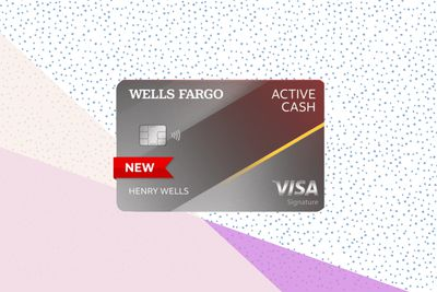 The Wells Fargo Active Cash credit card on a tri-color background