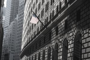 American flag on the federal reserve bank building