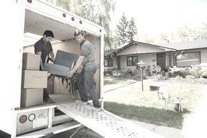 Men unloading a moving truck