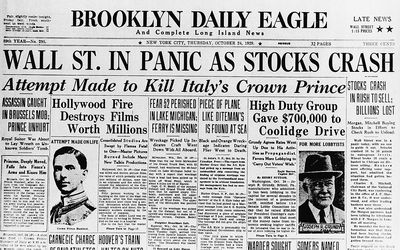 The stock market crash of 1929 in relation to opening up your bank account