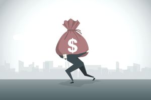 Illustration of a person carrying a load of debt