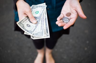 Woman with cash in her hands