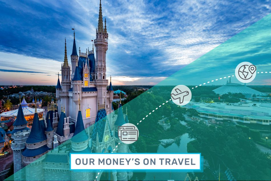 """Cinderella's Castle at Disney World, with an illustrated overlay that reads, """"Our Money's on Travel."""""""