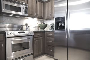 Kitchen with shiny, new appliances