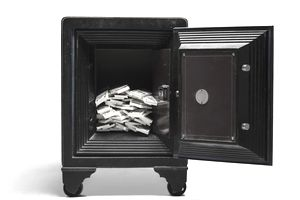 Stacks of money in a safe