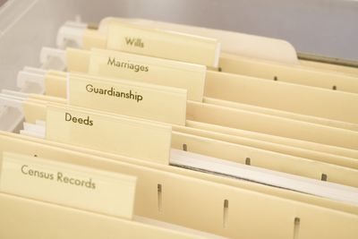 Filing cabinet drawer with folders pertaining to guardianship