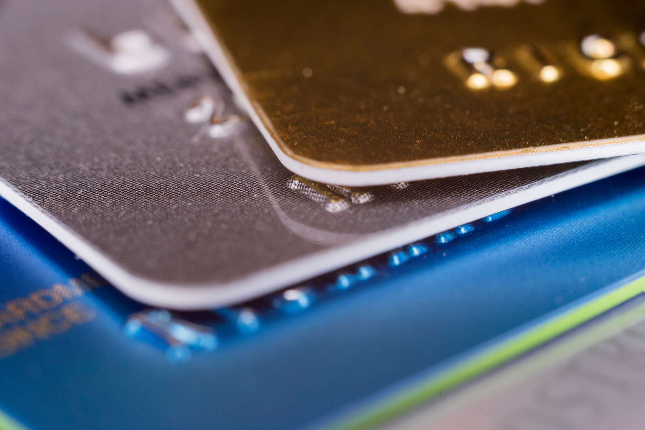 Close-up of a stack of credit cards