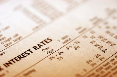 'Paper with interest rates, close-up'
