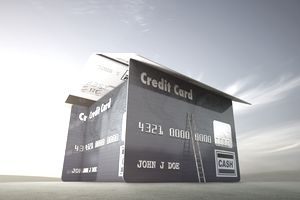 House of credit cards under blue sky
