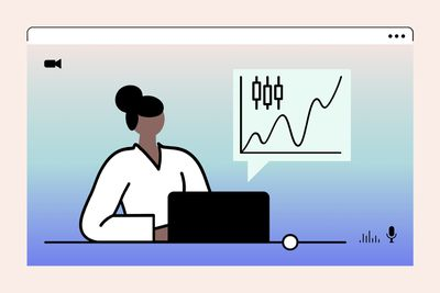 illustration of woman sitting at laptop with a chart in the background