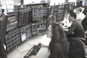 Woman working as a stockbroker
