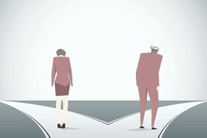 Illustration of a husband and wife heading down two separate paths as they divorce