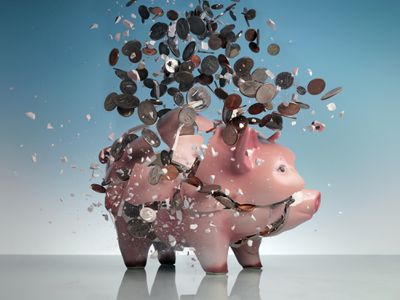 An exploding piggy bank signifying the loss of savings