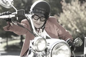 Grandma on a motorcycle