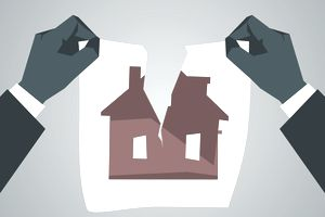 Illustration of hands tearing a sheet of paper with picture of house