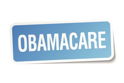 obamacare blue square sticker isolated on white
