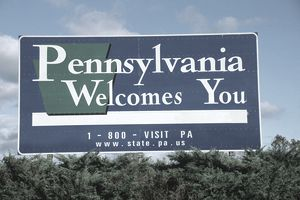 Welcome to Pennsylvania sign on highway