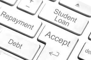 Student Loan, Repayment, Debt and Accept on a computer keyboard