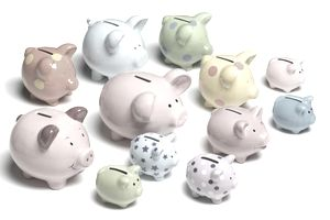 Various colorful piggy banks.