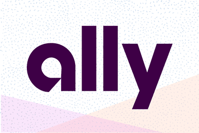 Ally Bank logo on a pastel background