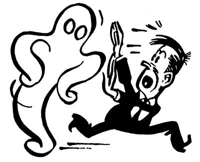 Illustration of a man running from a ghost, representing the concept of phantom debt.