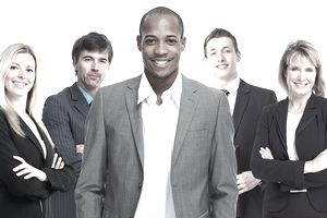 A group of real estate professionals against a white background
