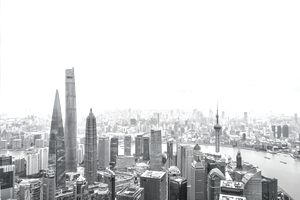 Aerial View of Shanghai Financial District after Snow